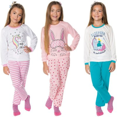 Pijama Infantil Menina Kit 3 Pijamas Longos de Inverno