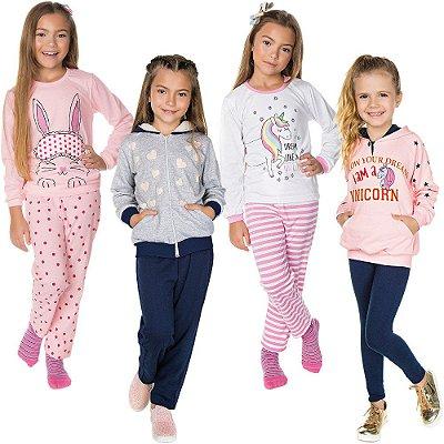 Roupa Infantil Menina Kit 2 Conjuntos 2 Pijamas de Inverno