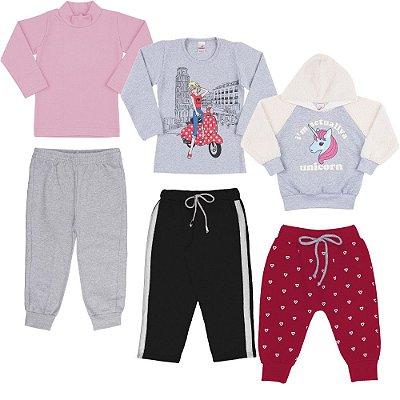 Roupa Infantil Menina Kit 6 Peças Blusas e Calças de Inverno