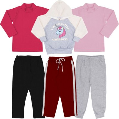 Roupa Infantil Menina Kit 2 Blusas 1 Blusão 3 Calças Inverno
