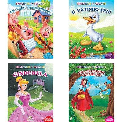 Coleção 4 Livros Infantis Brincando De Colorir Blu Editora
