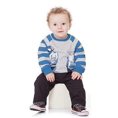 Roupa Bebê Menino Conjunto Blusão e Calça Moletom Felpado
