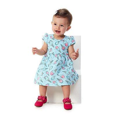 Roupa Bebê Menina Vestido Meia Malha Penteada Abrange