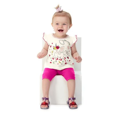 Roupa Bebê Menina Conjunto Blusa e Capri Estampa com Glitter