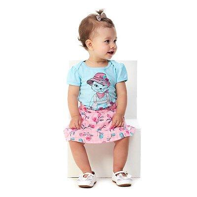 Roupa Bebê Menina Conjunto Body e Saia Curto Verão Abrange