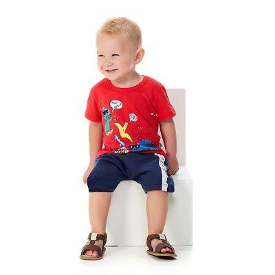 Roupa Bebê Menino Conjunto Camiseta e Bermuda Verão Abrange