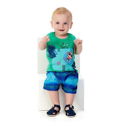 Roupa Bebê Menino Conjunto Regata e Bermuda Verão Abrange