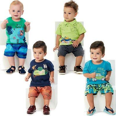 Roupa Bebê Menino Kit 4 Conjuntos Curto de Verão 8 Peças
