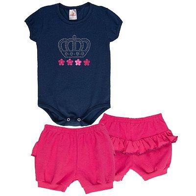 Roupa Bebê Menina Conjunto Body e Shorts com Babado Cotton