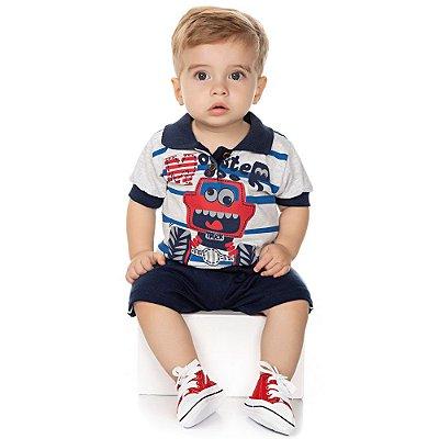 Roupa Bebê Menino Conjunto Camiseta Gola Polo e Bermuda