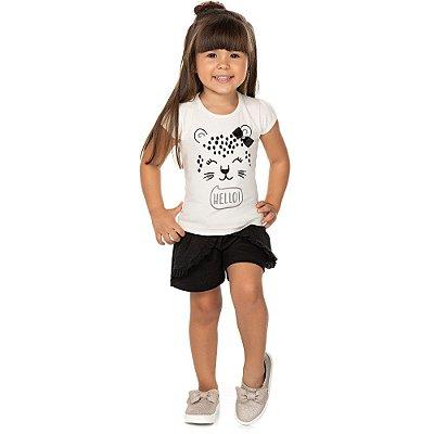 Roupa Bebê Infantil Menina Conjunto Curto Blusa e Short Saia