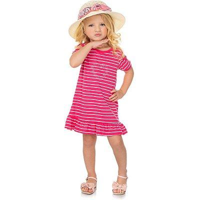 Roupa Bebê Infantil Menina Vestido Curto Listrado com Strass