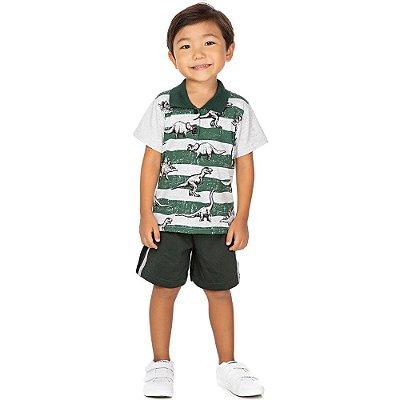 Roupa Bebê Infantil Menino Conjunto Gola Polo e Bermuda Dino