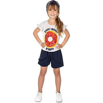 Roupa Infantil Menina Conjunto Blusa Meia Manga e Shorts