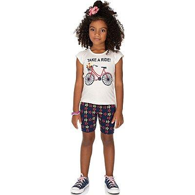 Roupa Infantil Menina Conjunto Blusa e Bermuda Ciclista