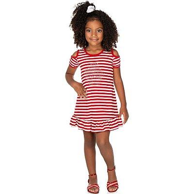 Roupa Infantil Menina Vestido Meia Malhada Listrada Isensee