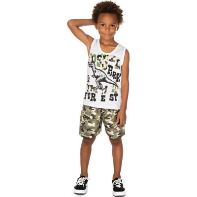 Roupa Infantil Menino Conjunto Regata e Bermuda Camuflado