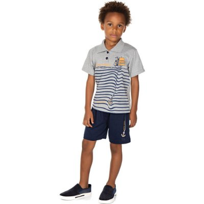 Roupa Infantil Menino Conjunto Gola Polo e Bermuda Isensee