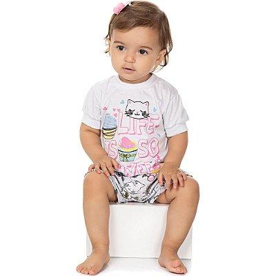 Roupa Bebê Menina Pijama Curto Camiseta e Shorts Isensee