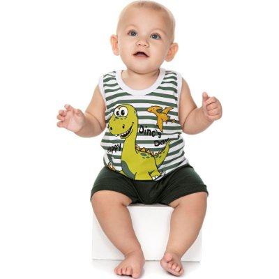 Roupa Bebê Menino Pijama Curto Camiseta Regata e Bermuda