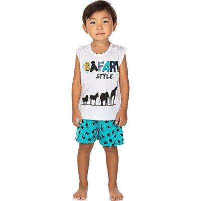 Roupa Bebê Infantil Menino Pijama Camiseta Machão e Bermuda