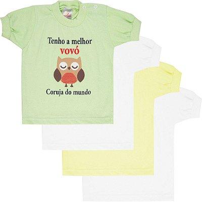 Roupa Bebê Menino Menina Unissex Camiseta Manga Curta 4 Pcs