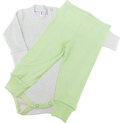 Roupa Bebê Conjunto Poá Body e Calça Luva e Pé Reversível