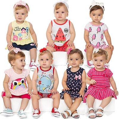 Roupa Bebê Menina Kit 5 Conjuntos 2 Vestidos Verão Isensee