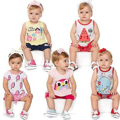 Roupa Bebê Menina Kit 5 Conjuntos Curto de Verão Isensee