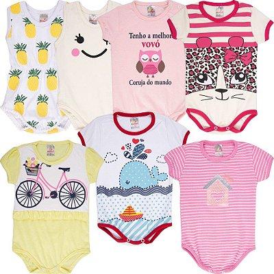 Roupa Bebê Menina Body Curto de Verão Isensee Kit 7 Bodies