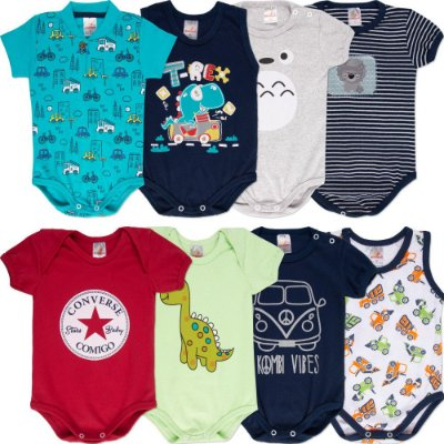 Roupa Bebê Menino Body Curto de Verão Isensee Kit 8 Bodies