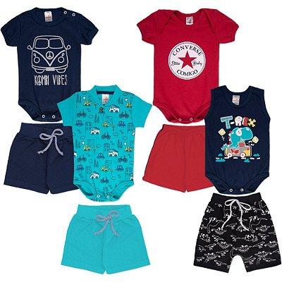 Roupa Bebê Menino Kit 4 Conjuntos Body e Shorts Isensee