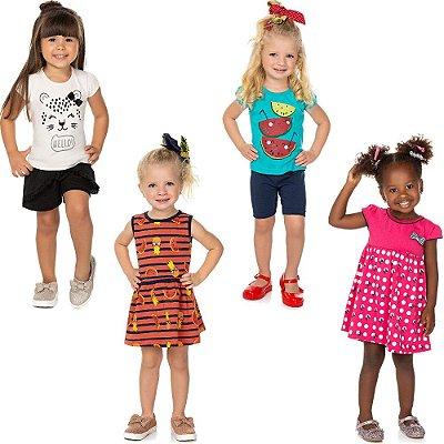 Roupa Bebê Infantil Menina Kit 2 Conjuntos e 2 Vestidos