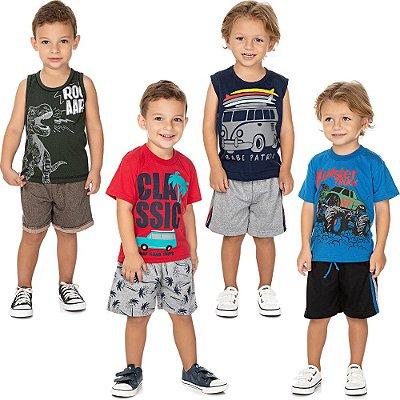 Roupa Bebê Infantil Menino Kit 4 Conjuntos Curto de Verão