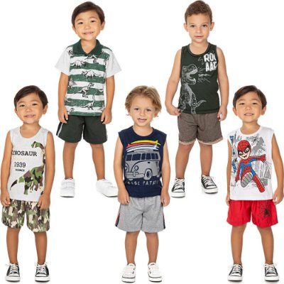 Roupa Bebê Infantil Menino Kit 5 Conjuntos de Verão Isensee