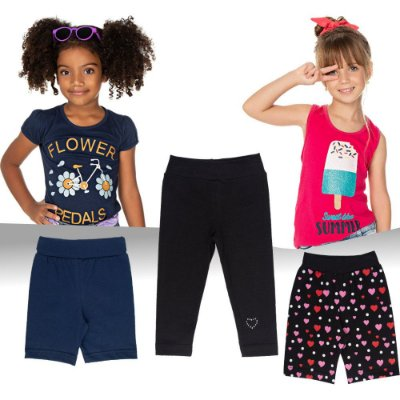 Roupa Infantil Menina Kit Verão 2 Blusas 2 Bermudas 1 Calças