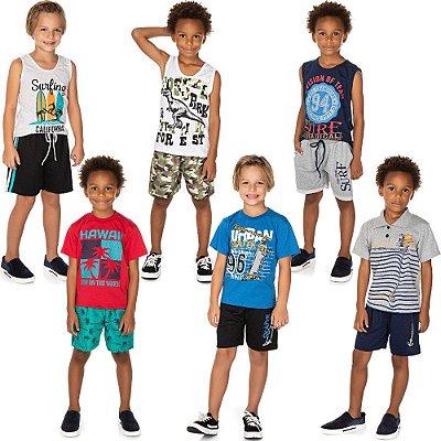 Roupa Infantil Menino Kit 6 Conjuntos Camiseta e Bermuda
