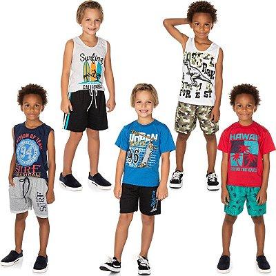 Roupa Infantil Menino Kit 5 Conjuntos Camiseta e Bermuda