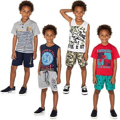 Roupa Infantil Menino Kit 4 Conjuntos Camiseta e Bermuda