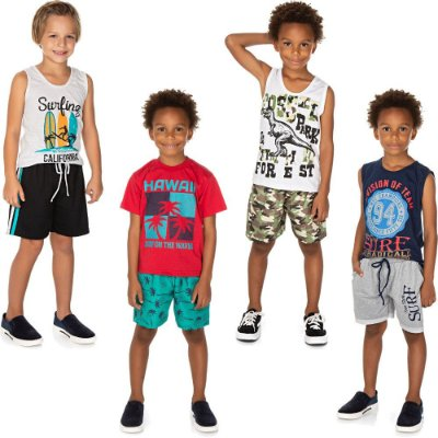 Roupa Infantil Menino Kit 4 Conjuntos Curto de Verão Isensee