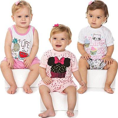 Roupa Bebê Menina Kit 3 Pijamas Curtos Verão Meia Malha