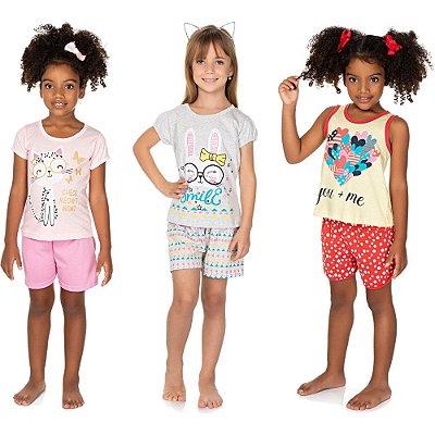 Roupa Infantil Menina Kit 3 Pijamas Curto Verão 100% Algodão