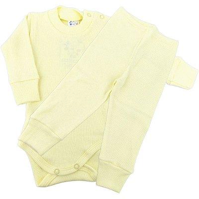 Roupa Bebê Conjunto Longo Canelado Body e Calça Prematuro