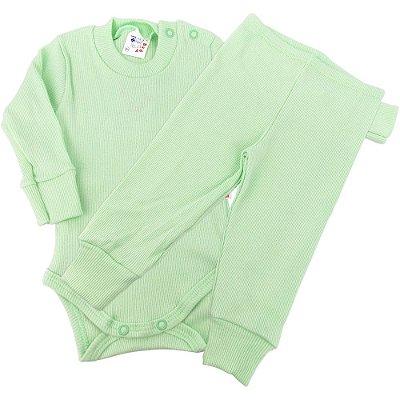 Roupa Bebê Infantil Conjunto Longo Canelado Body e Calça