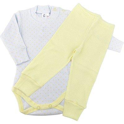Roupa Bebê Conjunto Longo Canelado Poá Body Calça Prematuro
