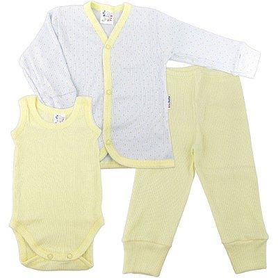 Roupa de Bebê Prematuro Conjunto Pagão 3 Peças Canelado Poá