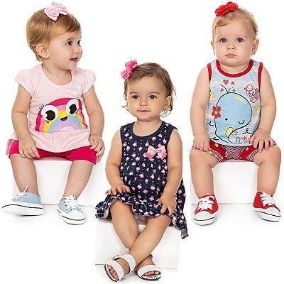 Roupa Bebê Menina Kit 2 Conjuntos e 1 Vestido Verão Isensee