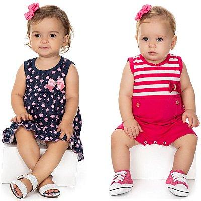 Roupa Bebê Menina Kit Vestido Regata + Macaquinho Curto