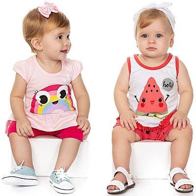Roupa Bebê Menina Kit 2 Conjuntos Camiseta e Shorts Verão