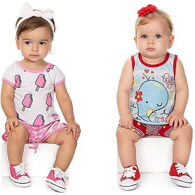 Roupa Bebê Menina Kit 2 Conjuntos Curtos de Verão Isensee
